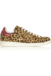 Isabel Marant Etoile Bart Leopard Print Calf Hair Sneakers Animal Print