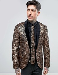 Noose And Monkey Super Skinny Snakeskin Velvet Blazer Gold
