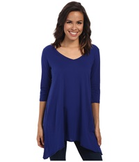 Allen Allen 3 4 Sleeve V Angled Tunic New Blue Women's Short Sleeve Pullover