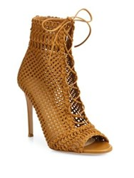 Gianvito Rossi Marnie Woven Leather Lace Up Booties Almond