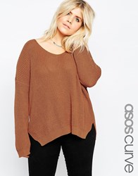 Asos Curve Ultimate Chunky Jumper With V Neck Tobacco