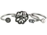 Marc Jacobs Daisy Midi Ring Set Crystal Antique Silver