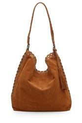 Vanessa Bruno Suede Etoile Hobo With Stud And Eyelet Trim Camel