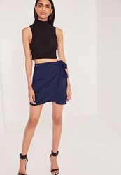 Missguided Side Tie Wrap Mini Skirt Blue Blue