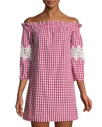 Romeo And Juliet Couture Off The Shoulder Gingham Mini Dress Red Pattern