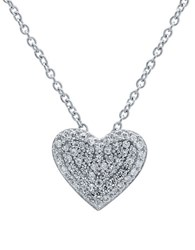 Crislu Simply Pave Platinum Sterling Silver And Cubic Zirconia Heart Pendant Necklace