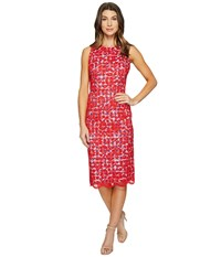 Maggy London Rose Bloom Lace Sheath Dress With Gingham Bright Red Women's Dress