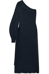 Rosetta Getty One Shoulder Wrap Effect Knitted Tunic Midnight Blue