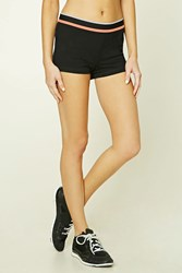 Forever 21 Active Contrast Striped Shorts Black White