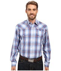 Stetson Smokey Blue Ombre Long Sleeve Woven Snap Shirt Blue Men's Clothing