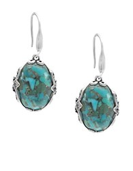Lord And Taylor Sterling Silver Faux Turquoise Oval Drop Earrings