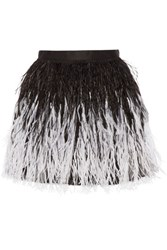 Alice Olivia Lauryn Feather Embellished Tulle Mini Skirt Black