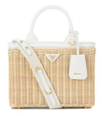 Prada Wicker And Canvas Bag Beige