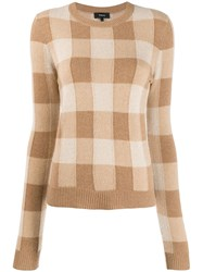 Theory Checked Cashmere Jumper Neutrals