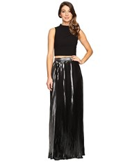 Aidan Mattox Two Piece Crepe Halter Top With Pleated Foil Shimmer Skirt Black Silver Women's Dress