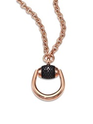 Gucci Horsebit Black Diamond And 18K Rose Gold Pendant Necklace