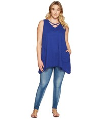 Allen Allen Plus Size Crisscross Angled Tunic New Blue Women's Clothing