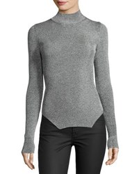 Thierry Mugler Ribbed Mock Neck Sweater Silver