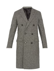 Lanvin Double Breasted Checked Wool Coat Black White