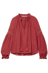 Veronica Beard Kalina Lace Trimmed Cotton Blouse Brick