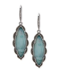 Jenny Packham Crystal Faceted Drop Earrings Blue