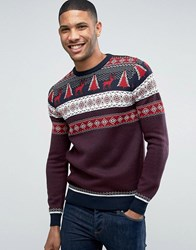 Threadbare Classic Fairisle Christmas Jumper Navy Red