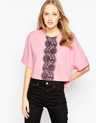 Girls On Film Top With Lace Panel Detail Pink