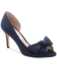 Nina Forbes 2 Bow Peep Toe D'orsay Evening Pumps Women's Shoes New Navy