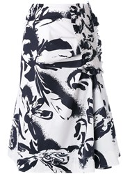 Cedric Charlier Abstract Print Midi Skirt White