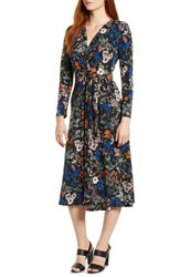 Chaus Botanical Faux Wrap Dress Rich Black