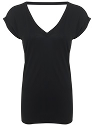 Miss Selfridge Open Back T Shirt Black