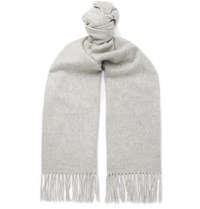 Johnstons Of Elgin Fringed Cashmere Scarf Light Gray