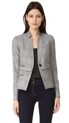 Veronica Beard Paloma Zipper Jacket Black White Red