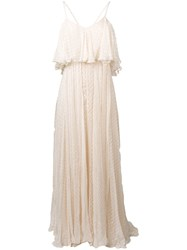 Mes Demoiselles Embroidered Flared Maxi Dress Neutrals