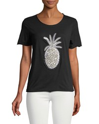 Romeo And Juliet Couture Beaded Pineapple Tee Blacksilver