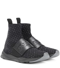 Balmain Embellished Mesh Sock Sneakers Black