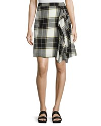 Public School Gina Draped Plaid A Line Skirt Yellow White Gray Multi