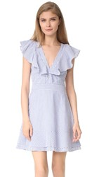Wayf Manning Ruffle Dress Blue Stripe
