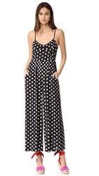 Mara Hoffman Embroidered Wide Leg Jumpsuit Polka Dot Black