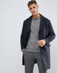 Selected Homme Oversized Wool Over Coat Dark Grey Melange