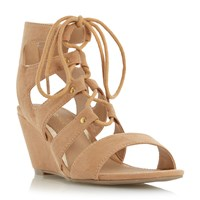 Head Over Heels Kadence Ghillie Lace Up Wedge Sandals Tan