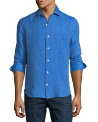 Culturata Fray Edge Linen Sport Shirt Blue