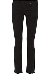 Sandro Pilly Distressed Mid Rise Flared Jeans Black