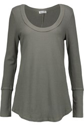 Splendid Waffle Knit Stretch Cotton And Modal Blend Top Army Green