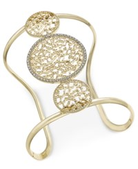 Inc International Concepts Gold Tone Filigree And Pave Wide Cuff Bracelet Only At Macy's