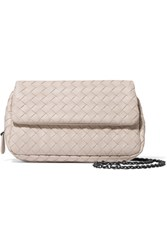 Bottega Veneta Messenger Mini Intrecciato Leather Shoulder Bag Cream