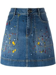 Alice Olivia Splatter Print Denim Skirt Blue
