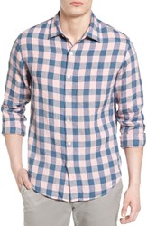 Bonobos Men's Slim Fit Check Linen Sport Shirt Tonal Pink Gingham