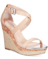 Charles By Charles David Aden Espadrille Platfrom Wedge Sandals Women's Shoes Nude