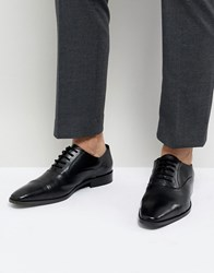 Dune Toe Cap Derby Shoes In Black Leather